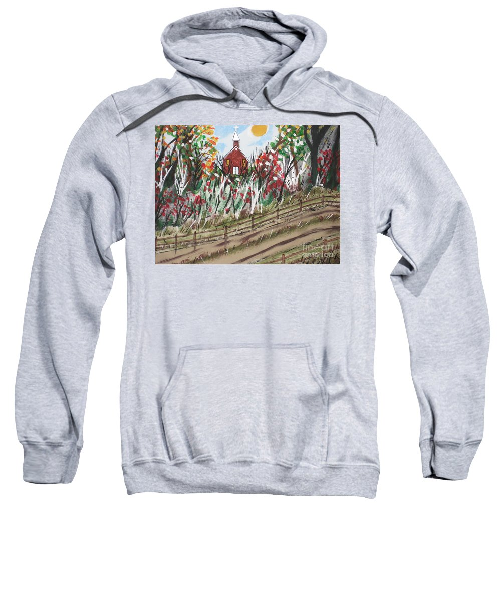 Church Sweatshirt featuring the painting The Old Red Church by Jeffrey Koss