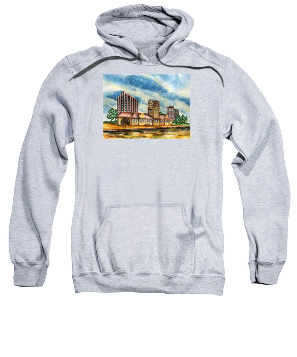 Cityscape Sweatshirt featuring the painting The Old Train Station  by Ragon Steele