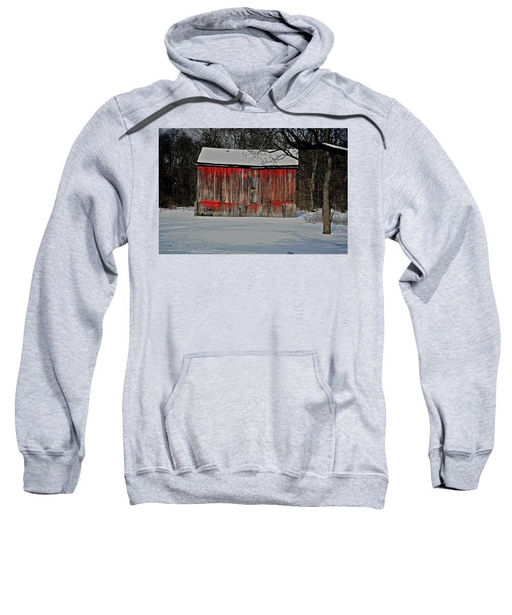 Old Sweatshirt featuring the photograph The Old Weathered Barn by Robert Pearson