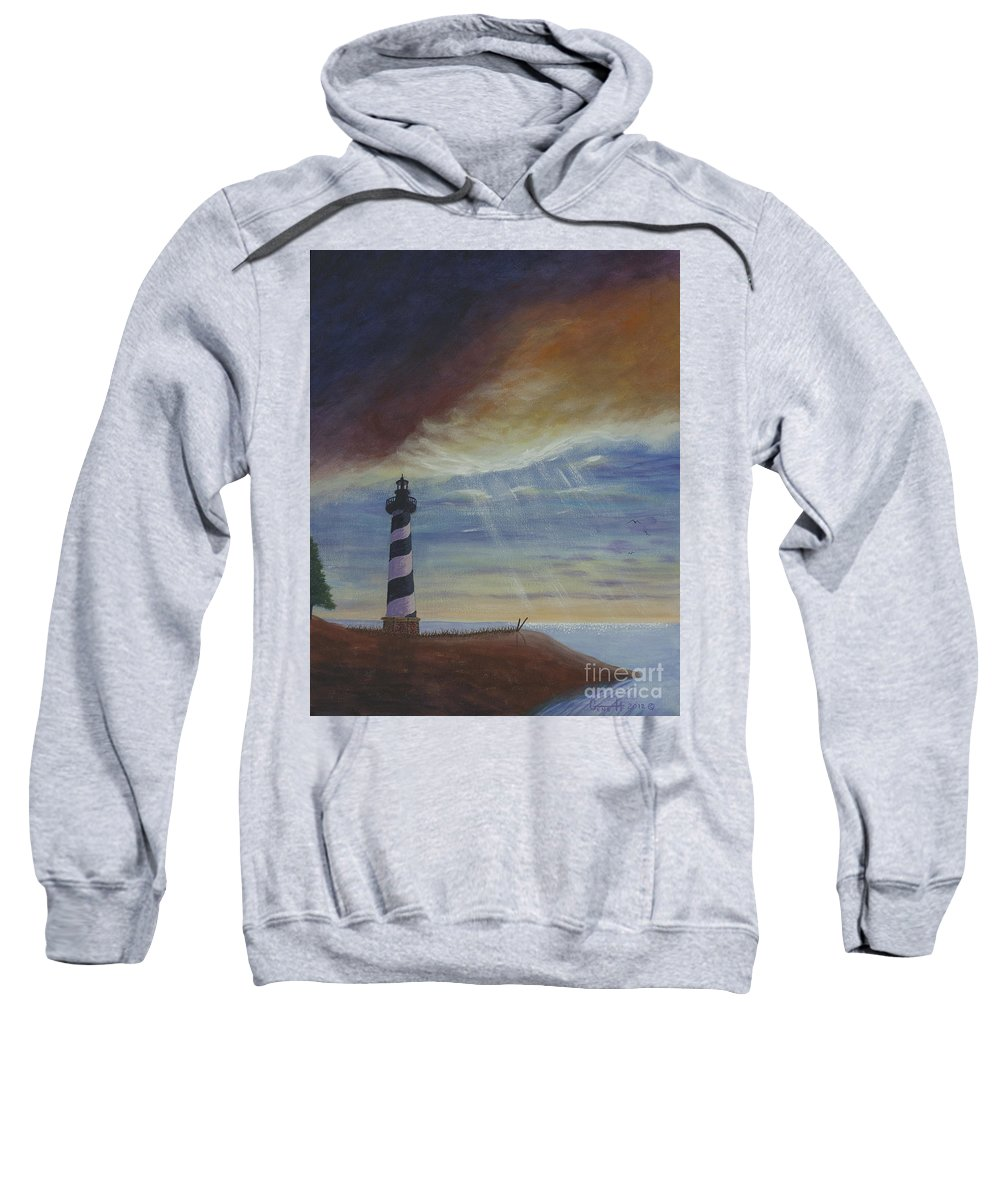 Lighthouse Sweatshirt featuring the painting The One True Light by Gene Huebner
