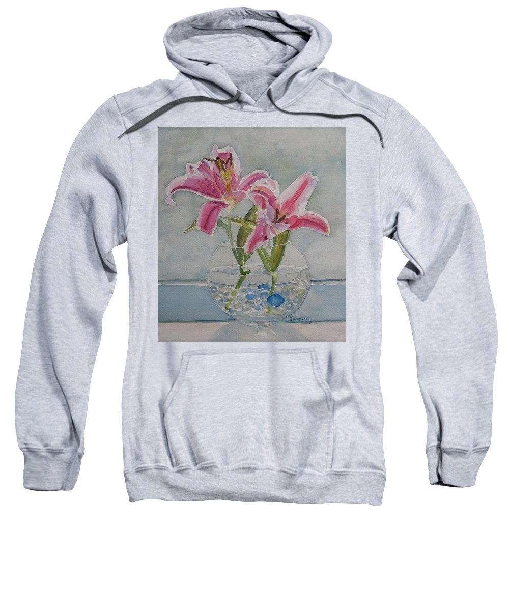 Lily Sweatshirt featuring the painting The Opening by Jenny Armitage