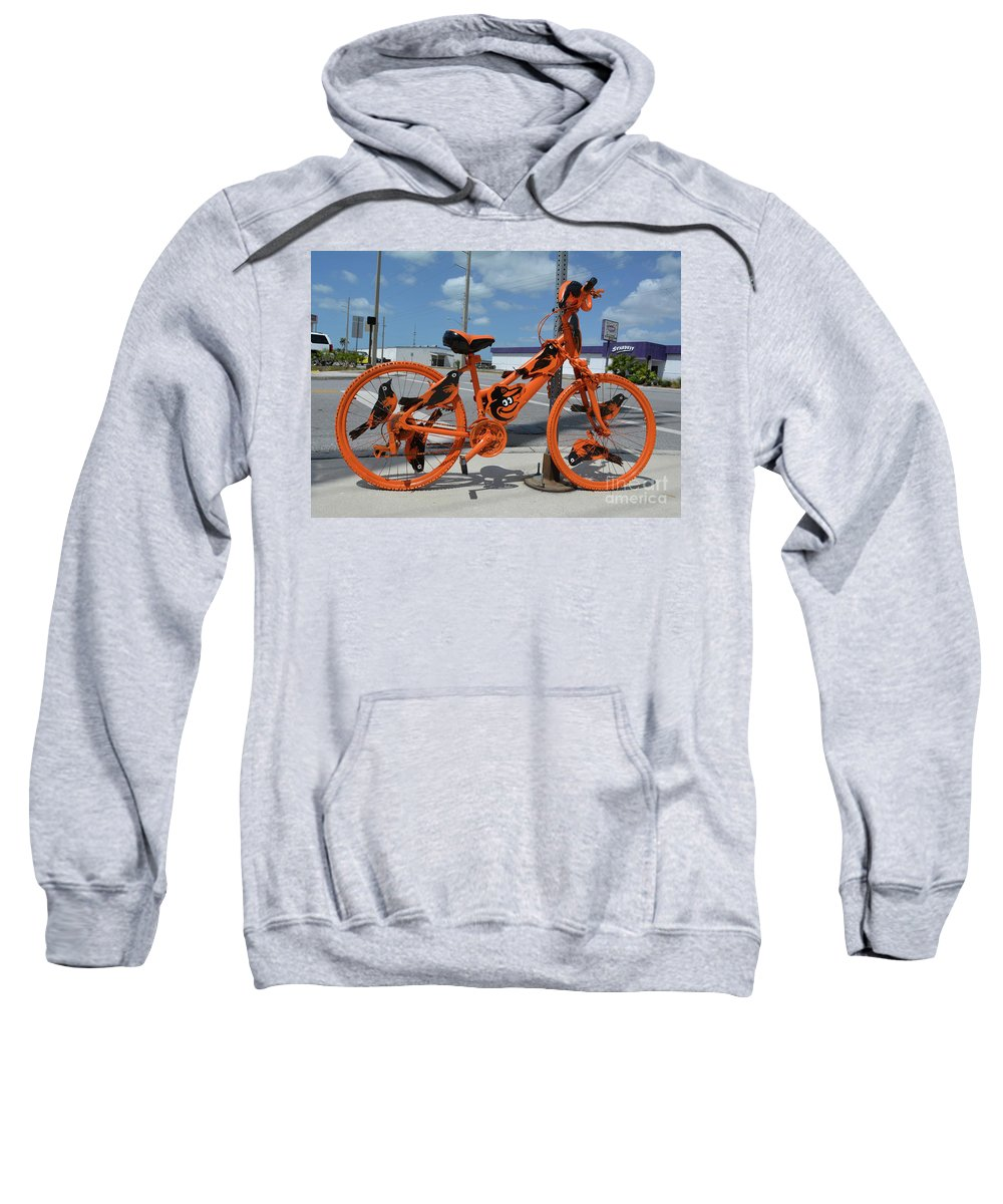The Orioles Sweatshirt featuring the photograph The Orioles Bicycle by To-Tam Gerwe