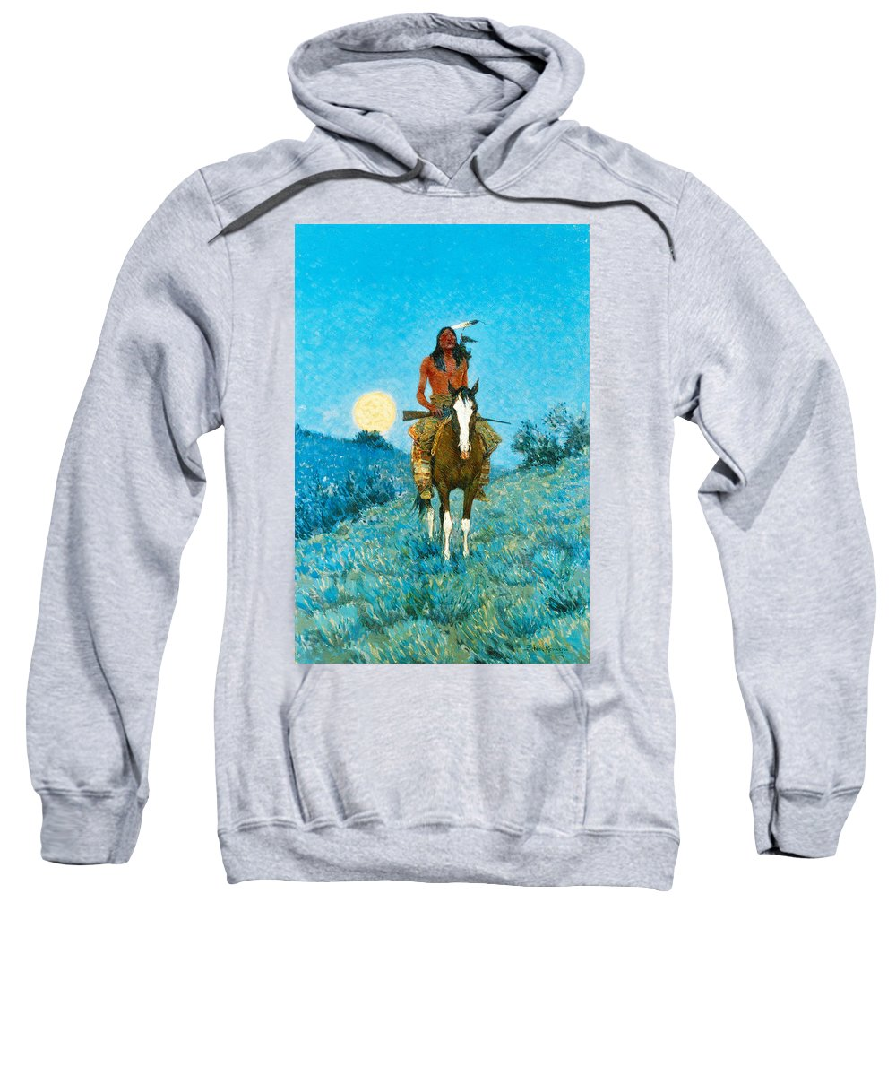 Native American Sweatshirt featuring the painting The Outlier by Frederic Sackrider Remington
