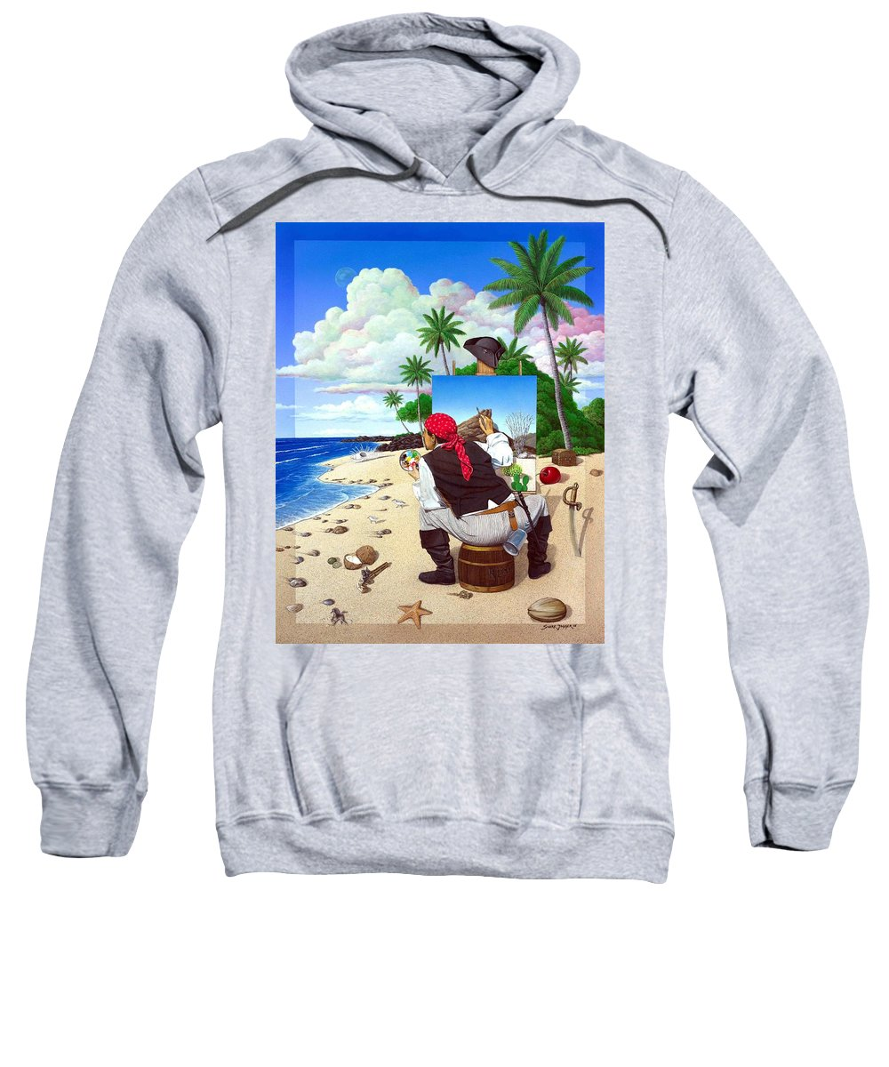 Pirate Sweatshirt featuring the painting The Painting Pirate by Snake Jagger