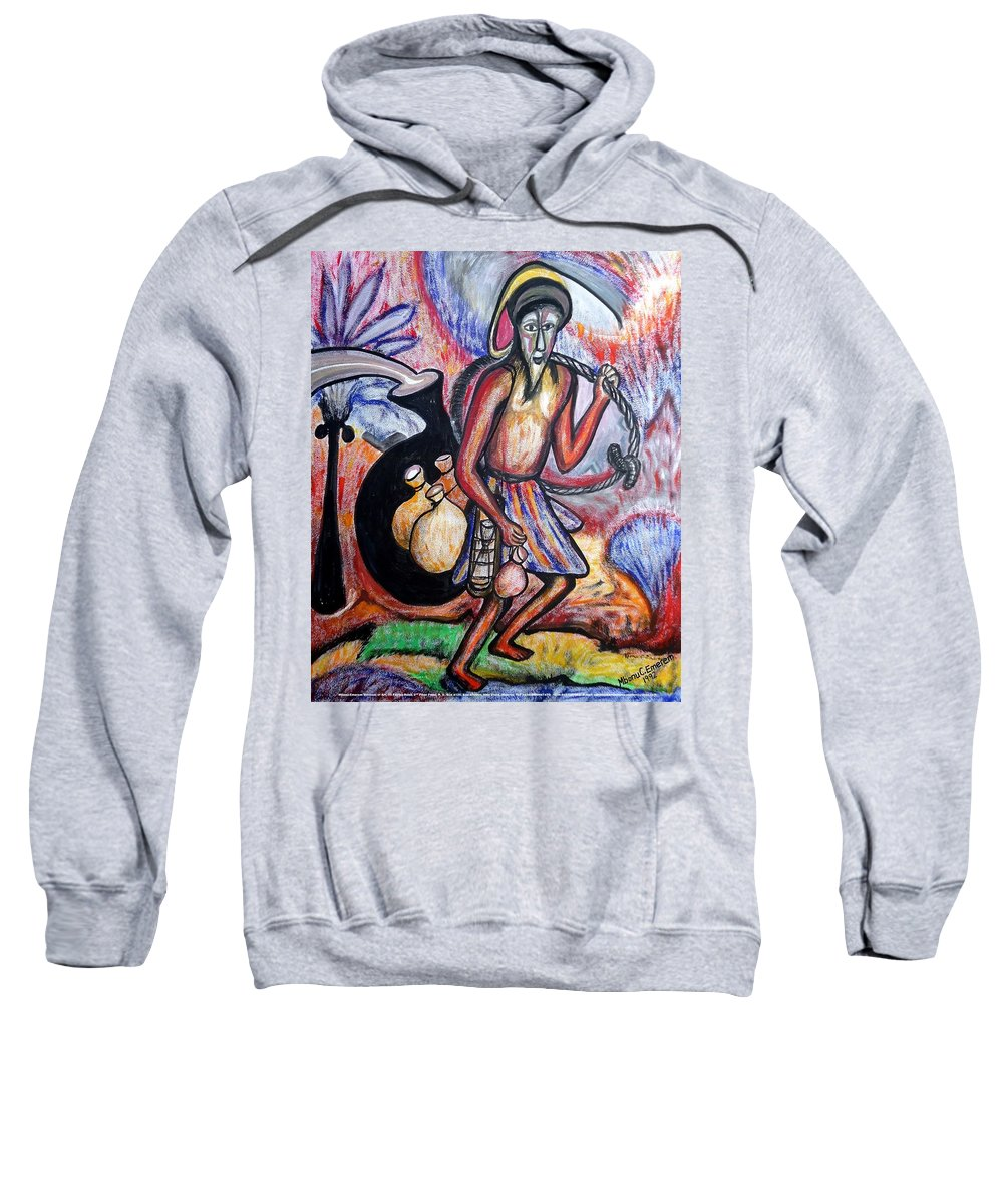 Palm-wine Tapper Sweatshirt featuring the painting The Palm-wine Tapper #3 by Mbonu Emerem