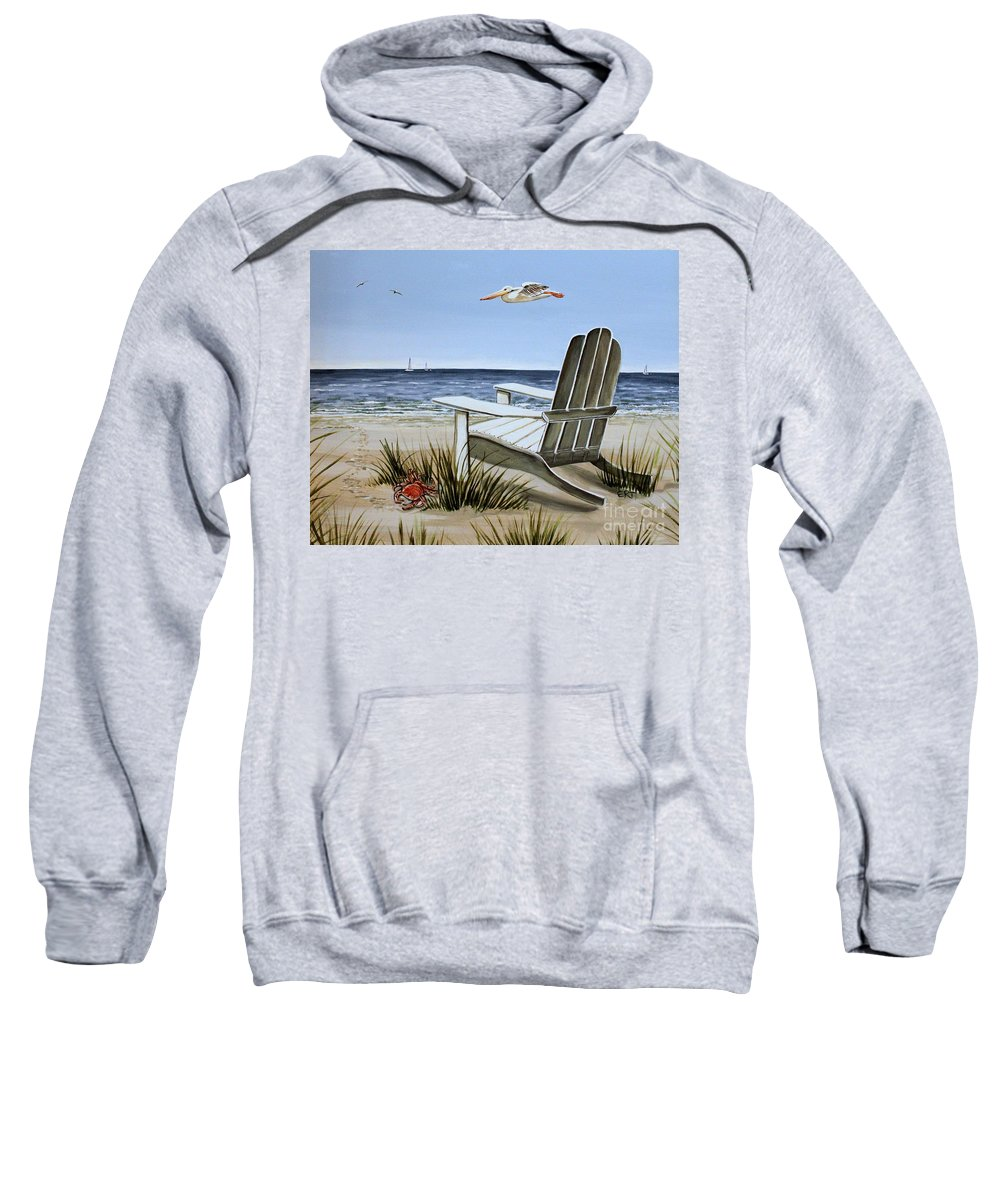 Landscape Sweatshirt featuring the painting The Pelican by Elizabeth Robinette Tyndall