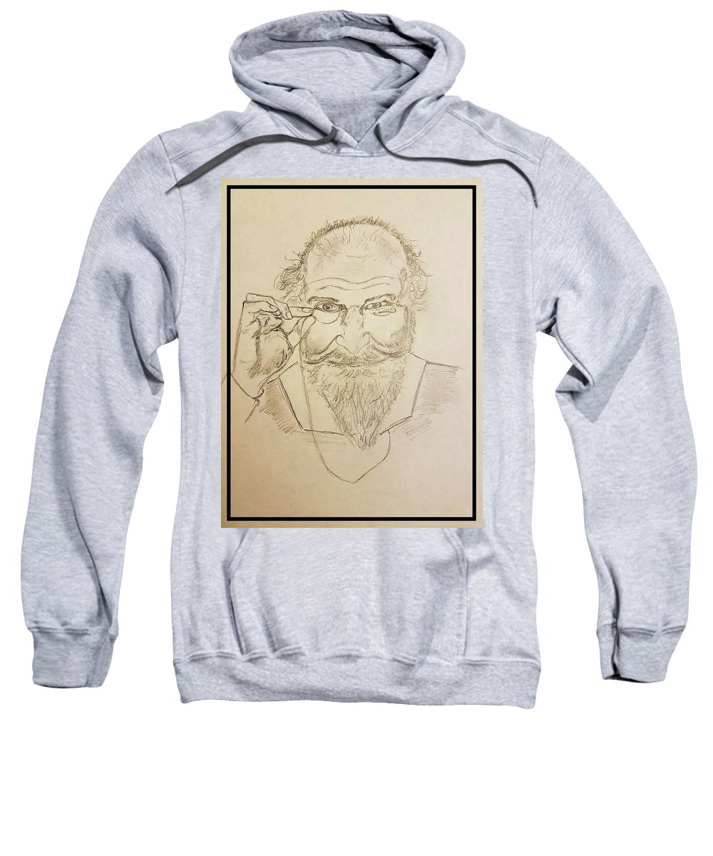 Man Sweatshirt featuring the drawing The Philosopher by Richard Howell
