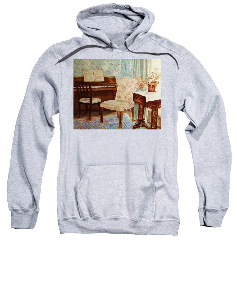 Iimpressionism Sweatshirt featuring the painting The Piano Room by Carole Spandau