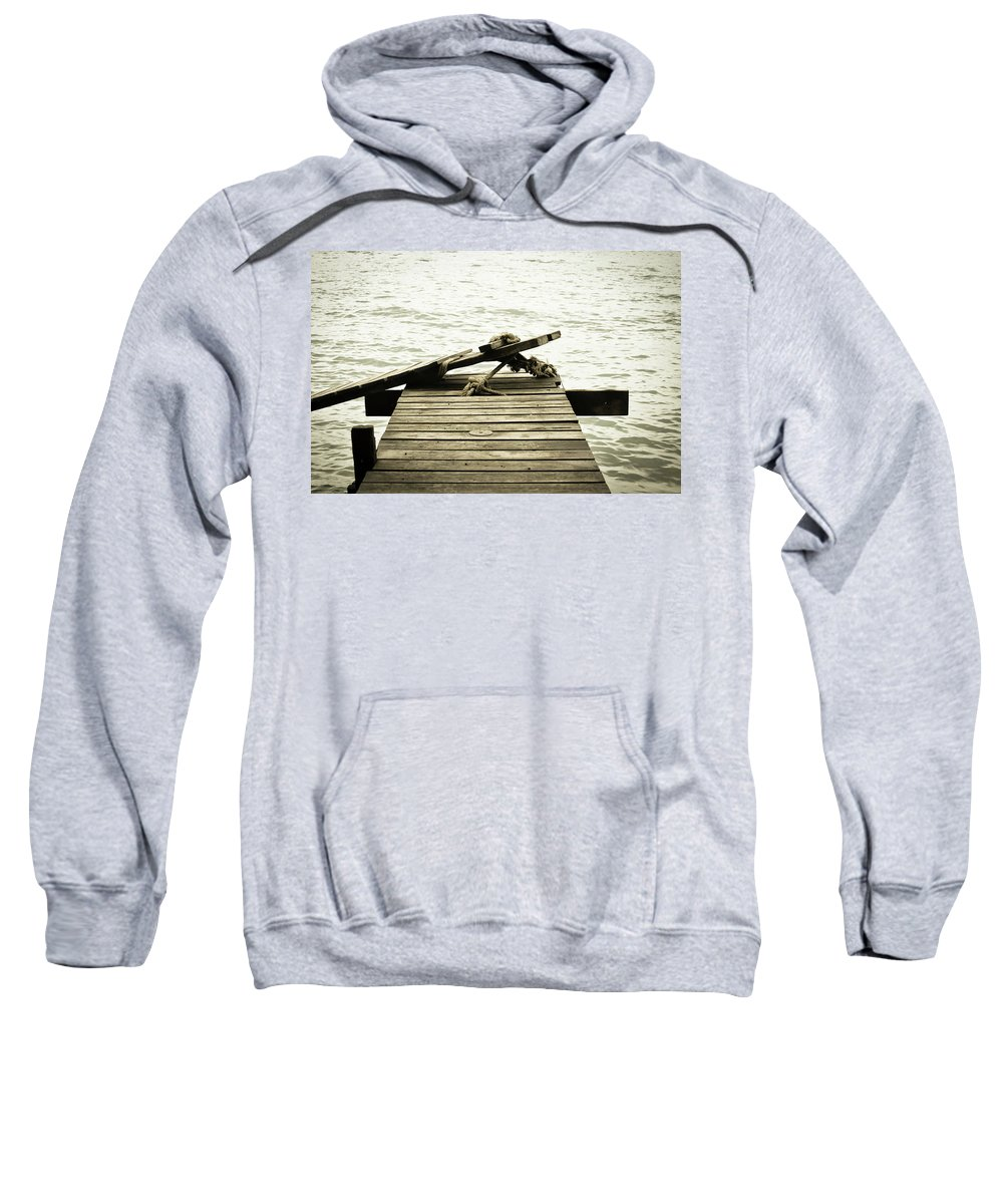 Pier Sweatshirt featuring the photograph An Old Pier by Melina Macedo