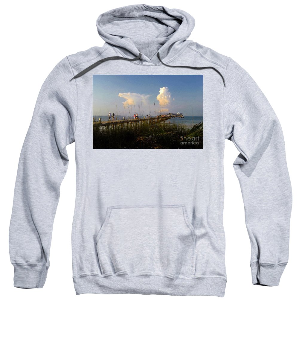 Pier Sweatshirt featuring the photograph The Pier On Anna Maria Island by David Lee Thompson