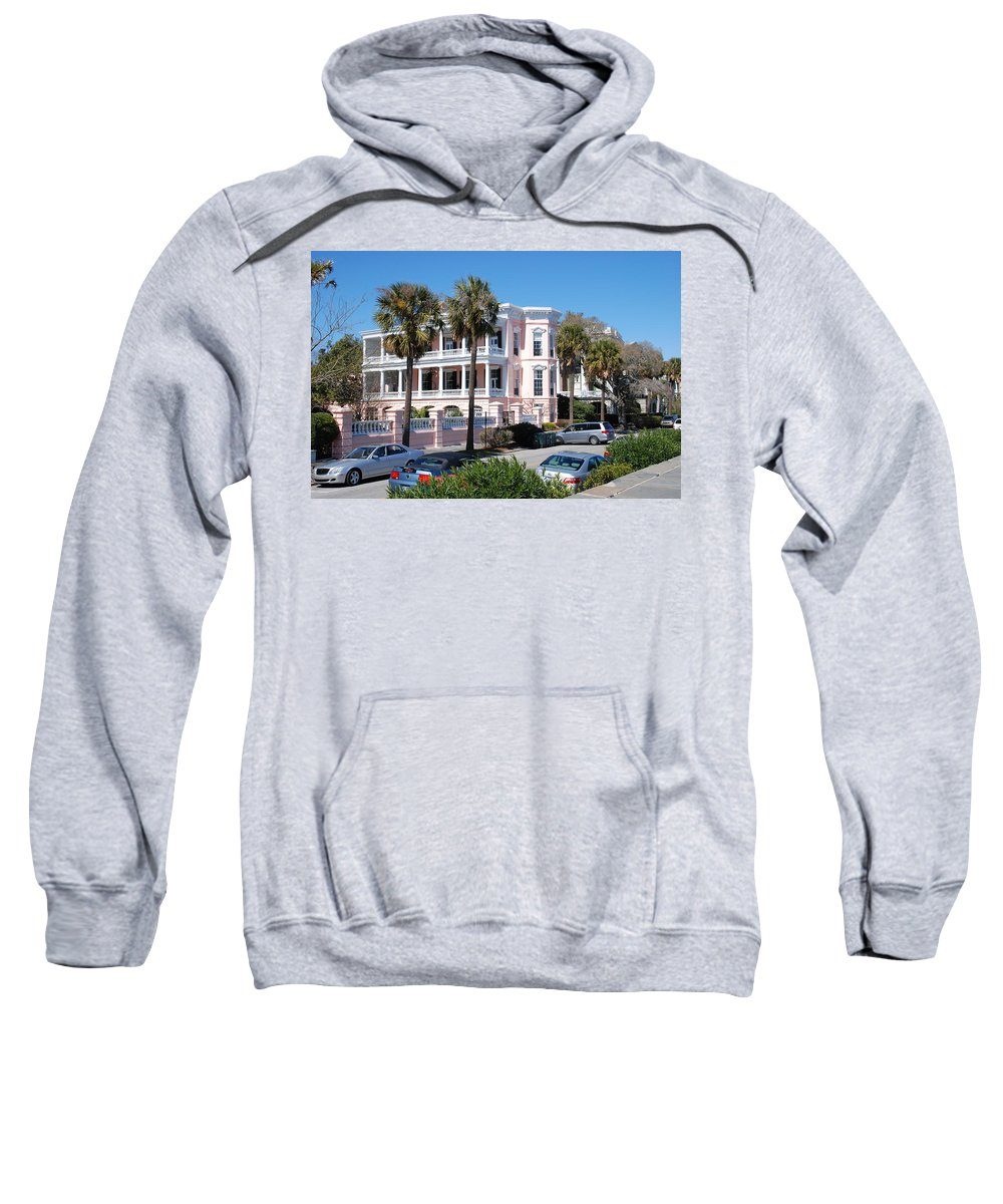 Photography Sweatshirt featuring the photograph The Pink Battery House by Susanne Van Hulst