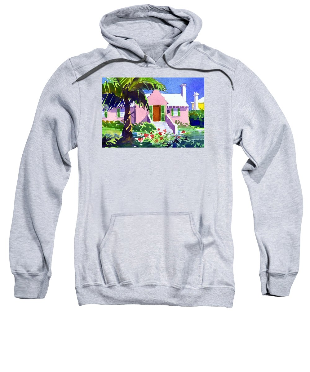 Bermuda Sweatshirt featuring the painting The Pink Palace by Lee Klingenberg