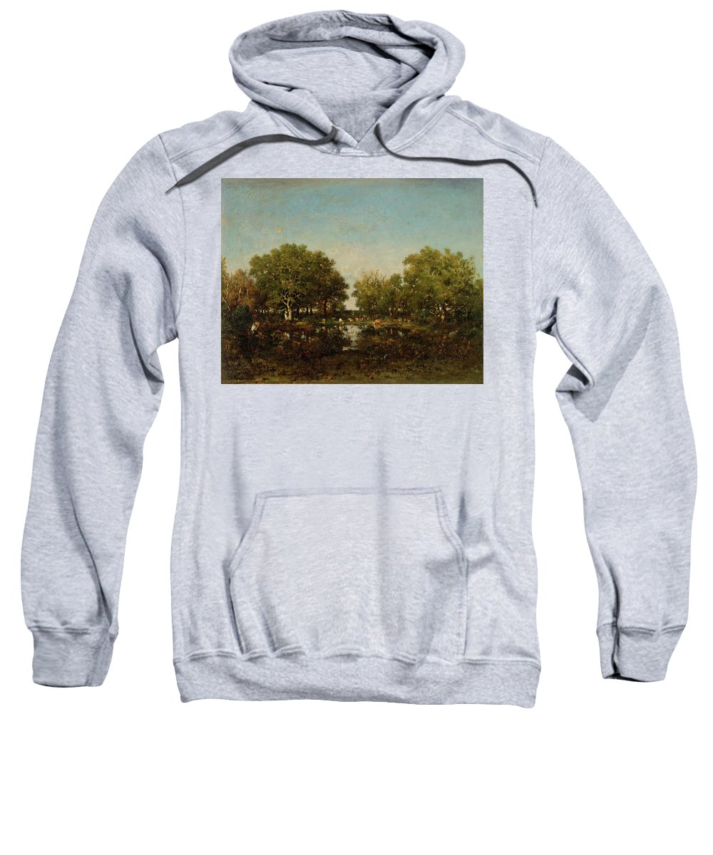 Animal Sweatshirt featuring the painting The Pool, Memory Of The Forest Of Chambord by Theodore Rousseau
