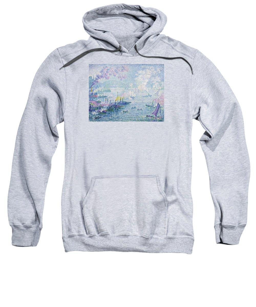 The Port Of Rotterdam Sweatshirt featuring the painting The Port Of Rotterdam by MotionAge Designs