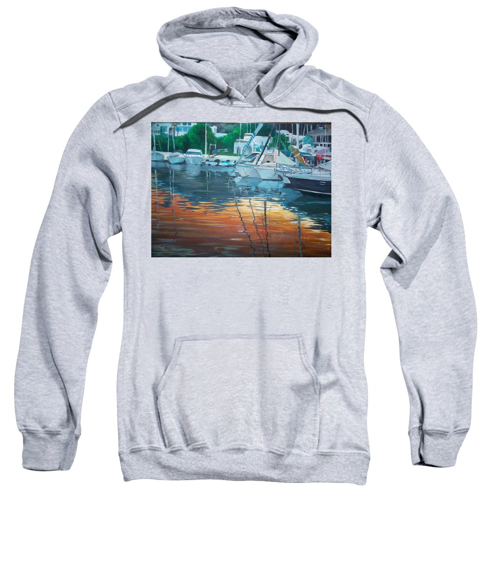 Sunset Sweatshirt featuring the painting The Port by Saeeda Kh