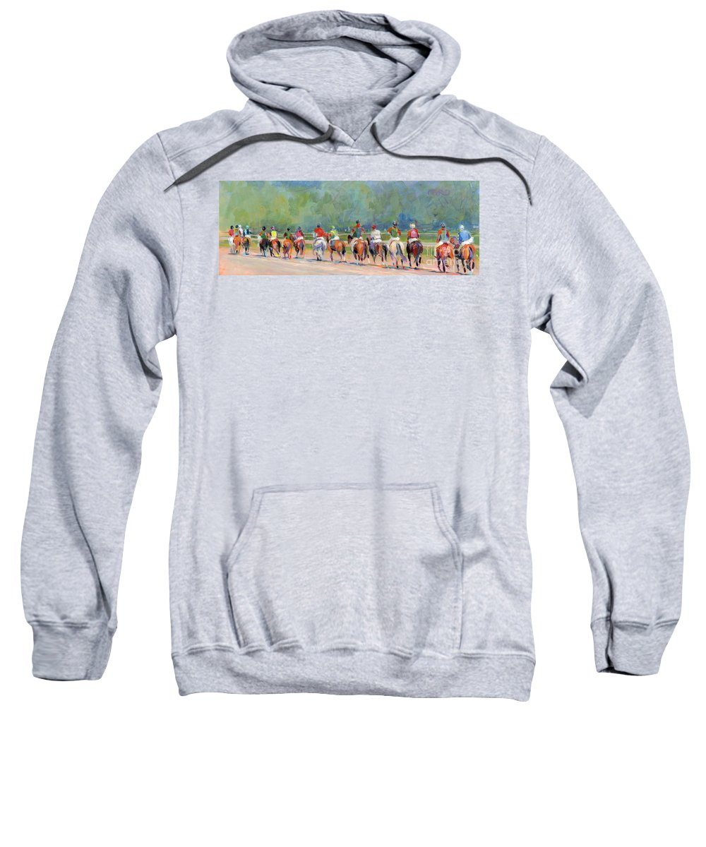 Saratoga Sweatshirt featuring the painting The Post Parade by Kimberly Santini