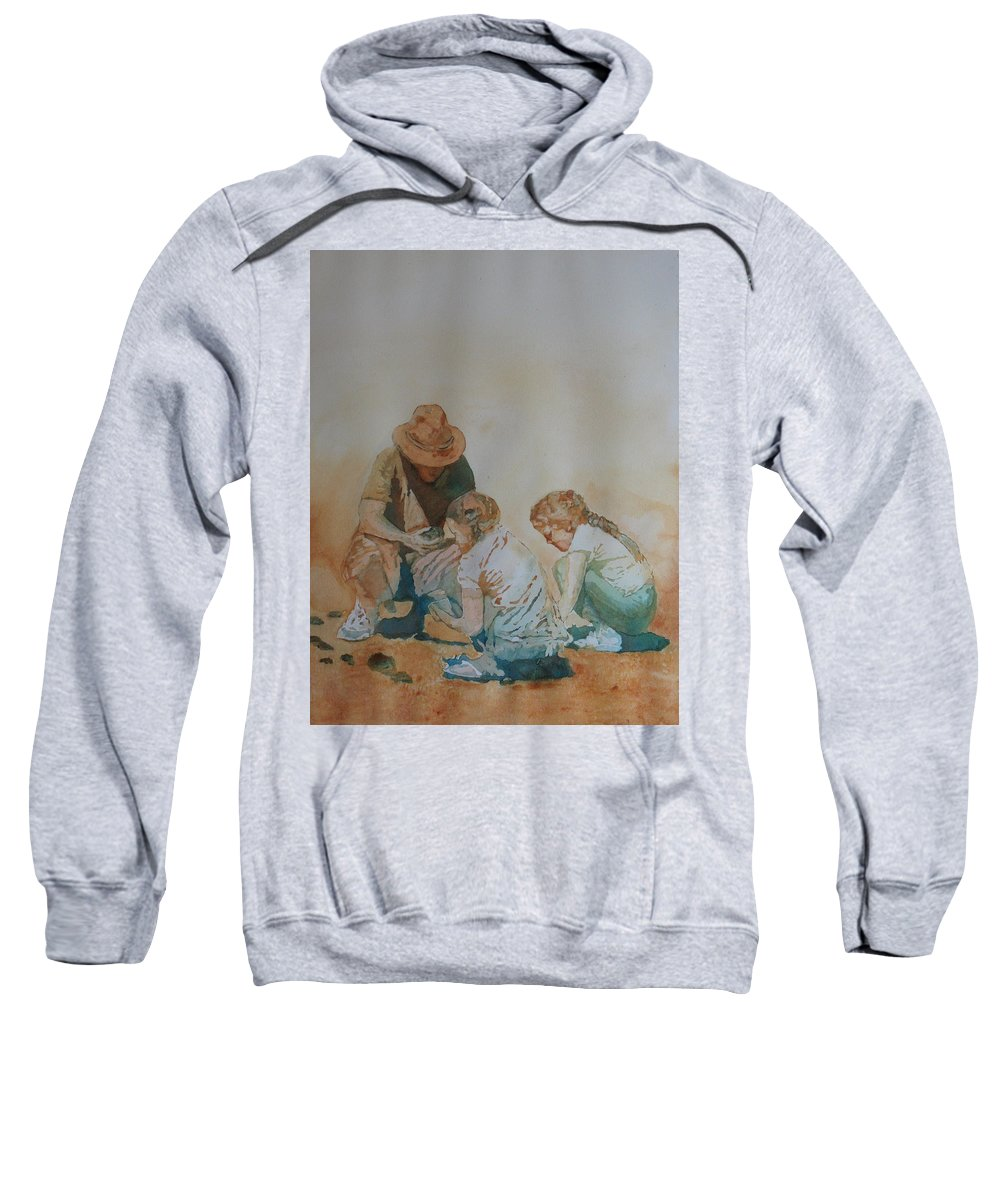 Fathers Sweatshirt featuring the painting The Pumice Seekers by Jenny Armitage