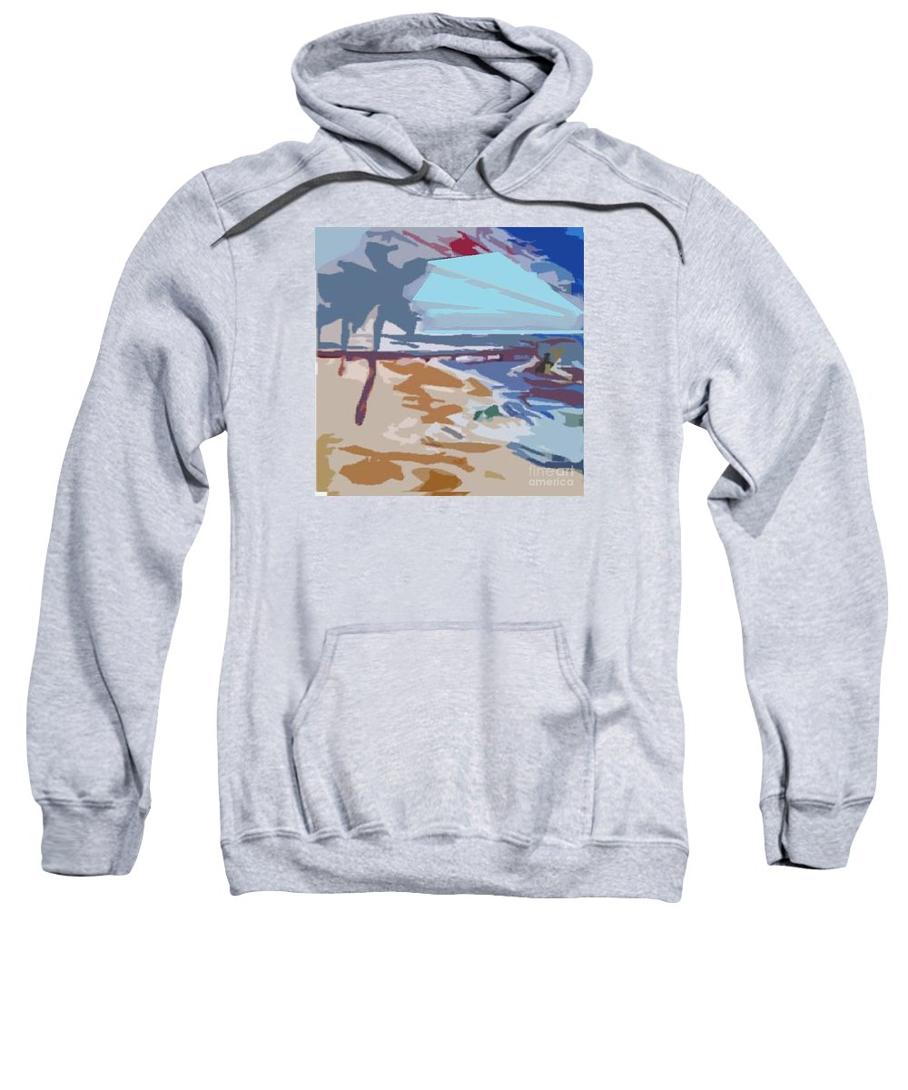 Quay Sweatshirt featuring the painting The Quay-seaside by Ayyappa Das