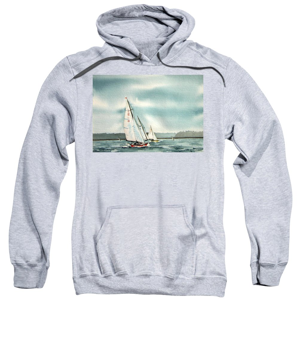 Sailing Sweatshirt featuring the painting The Race by Gale Cochran-Smith
