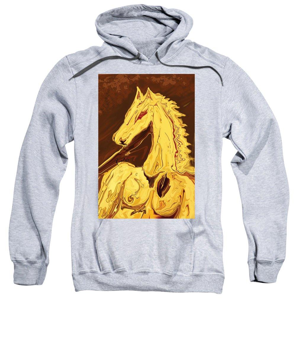 Brown Sweatshirt featuring the digital art The Race by Rabi Khan