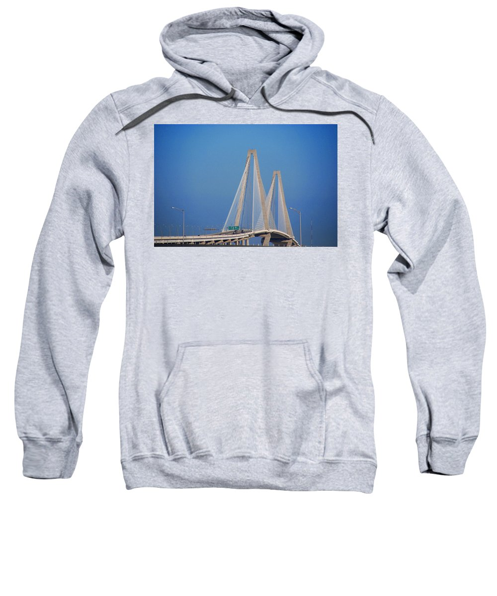 Photography Sweatshirt featuring the photograph The Ravanel Bridge In Charleston by Susanne Van Hulst