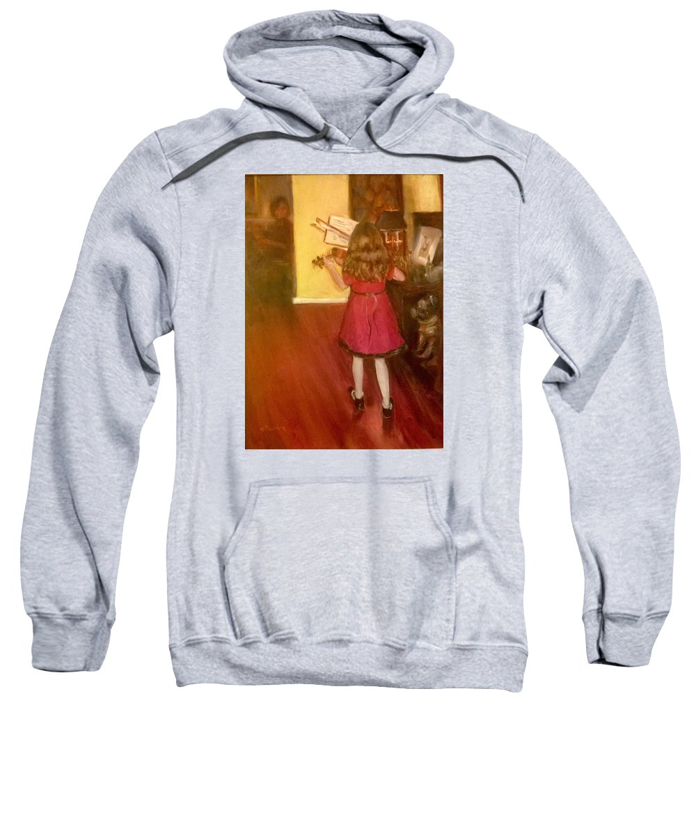 Girl Sweatshirt featuring the painting The Red Dress by Dorothy Siclare