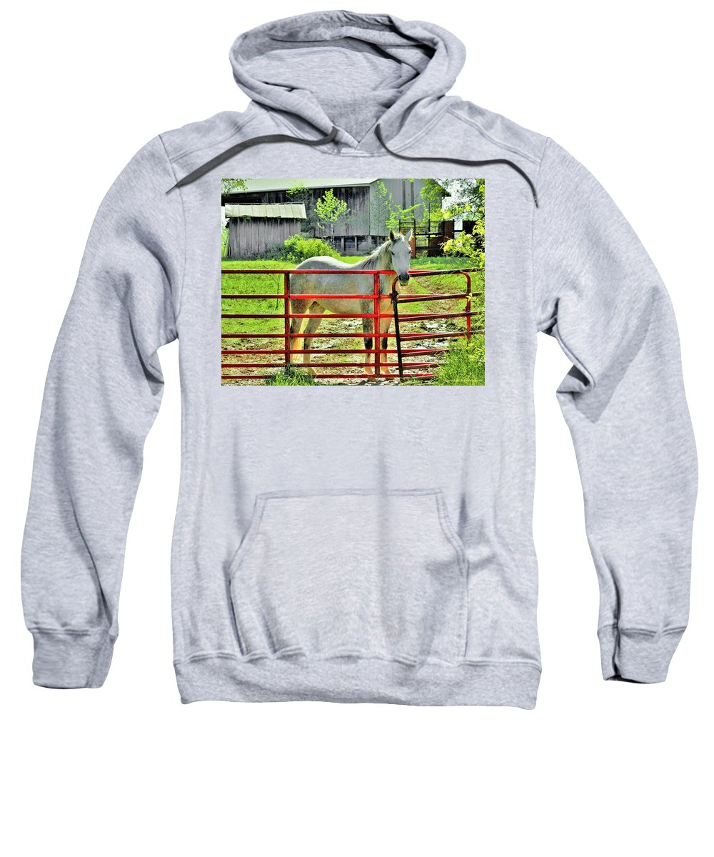 Gate Sweatshirt featuring the photograph The Red Gate by Chad Fuller