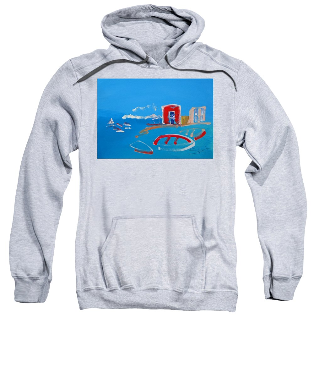 Puerto Sweatshirt featuring the painting The Red House La Casa Roja by Charles Stuart