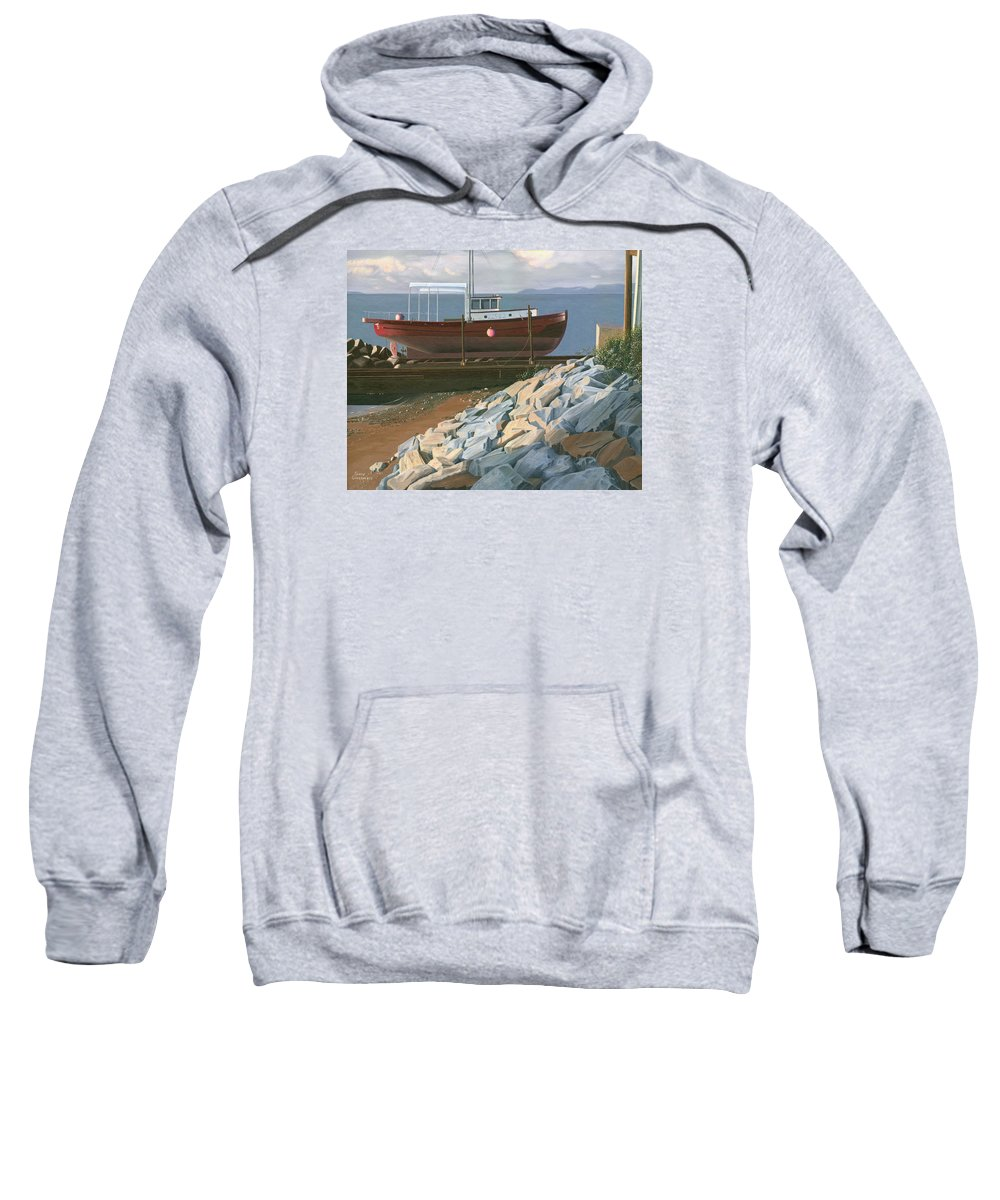 Ship Sweatshirt featuring the painting The Red Troller Revisited by Gary Giacomelli