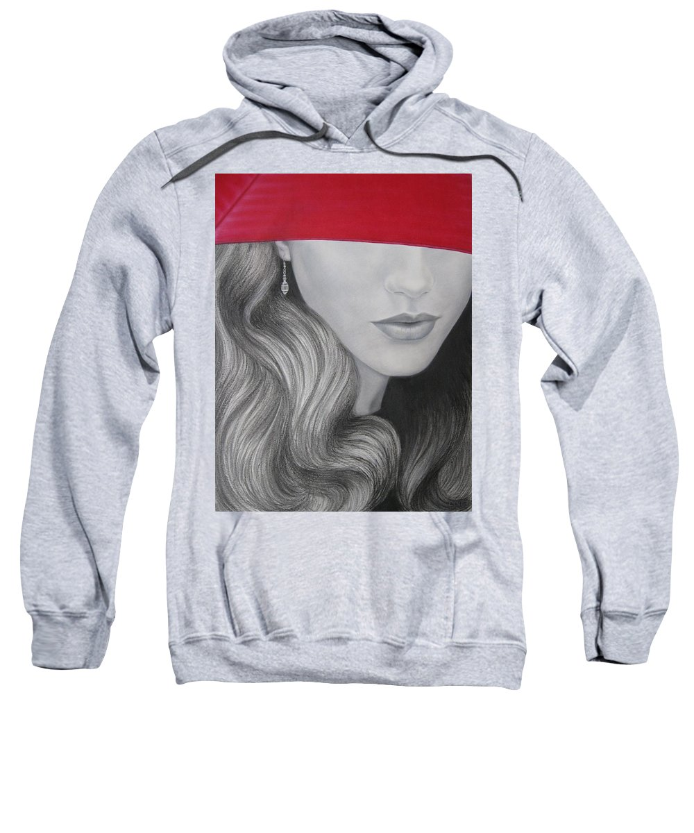 Woman Sweatshirt featuring the painting The Red Umbrella by Lynet McDonald