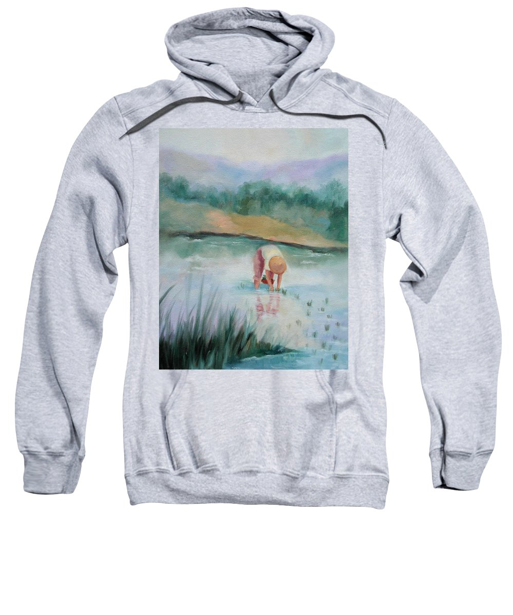 Figurative Sweatshirt featuring the painting The Rice Planter by Ginger Concepcion