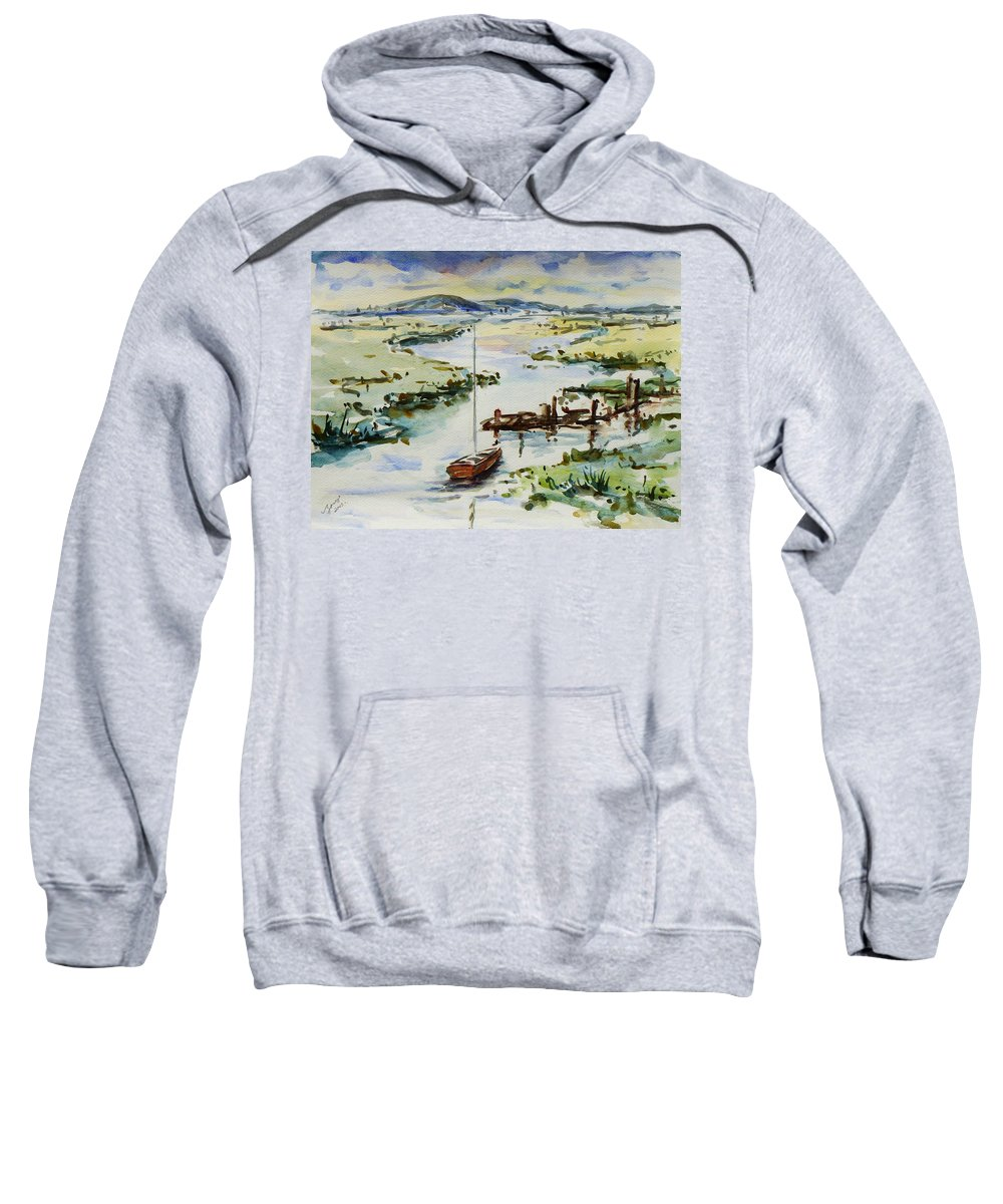Watercolour Sweatshirt featuring the painting The River Bend by Xueling Zou
