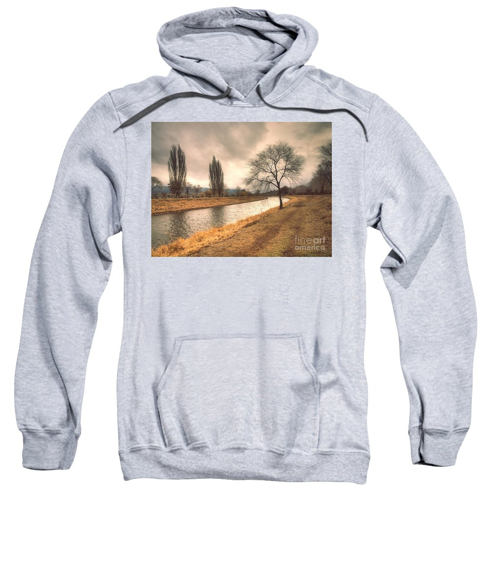 Channel Sweatshirt featuring the photograph The River Channel In January by Tara Turner