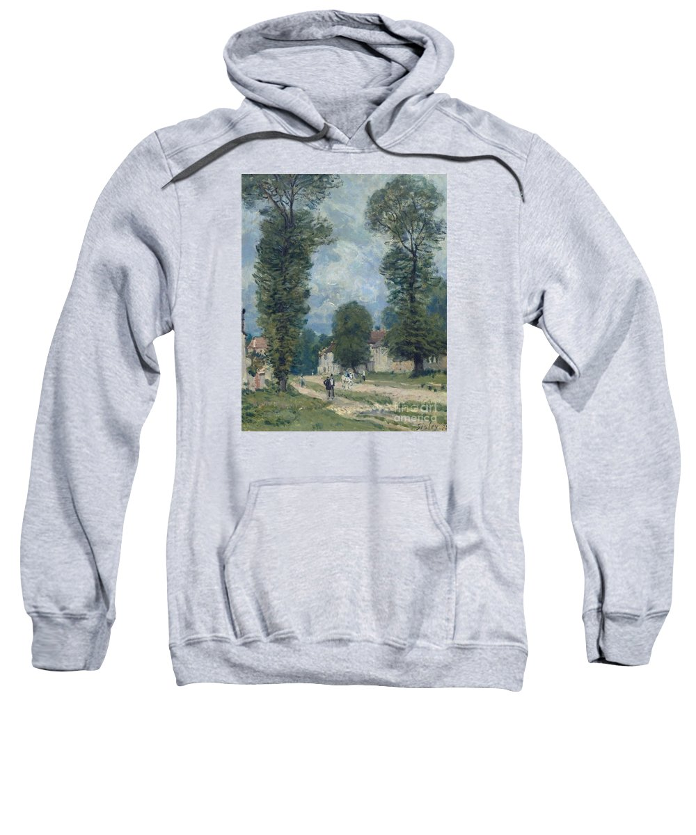 The Road To Versailles Sweatshirt featuring the painting The Road To Versailles by MotionAge Designs