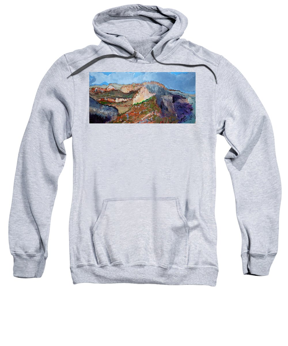 Mountains Sweatshirt featuring the painting The Rockies by Kurt Hausmann