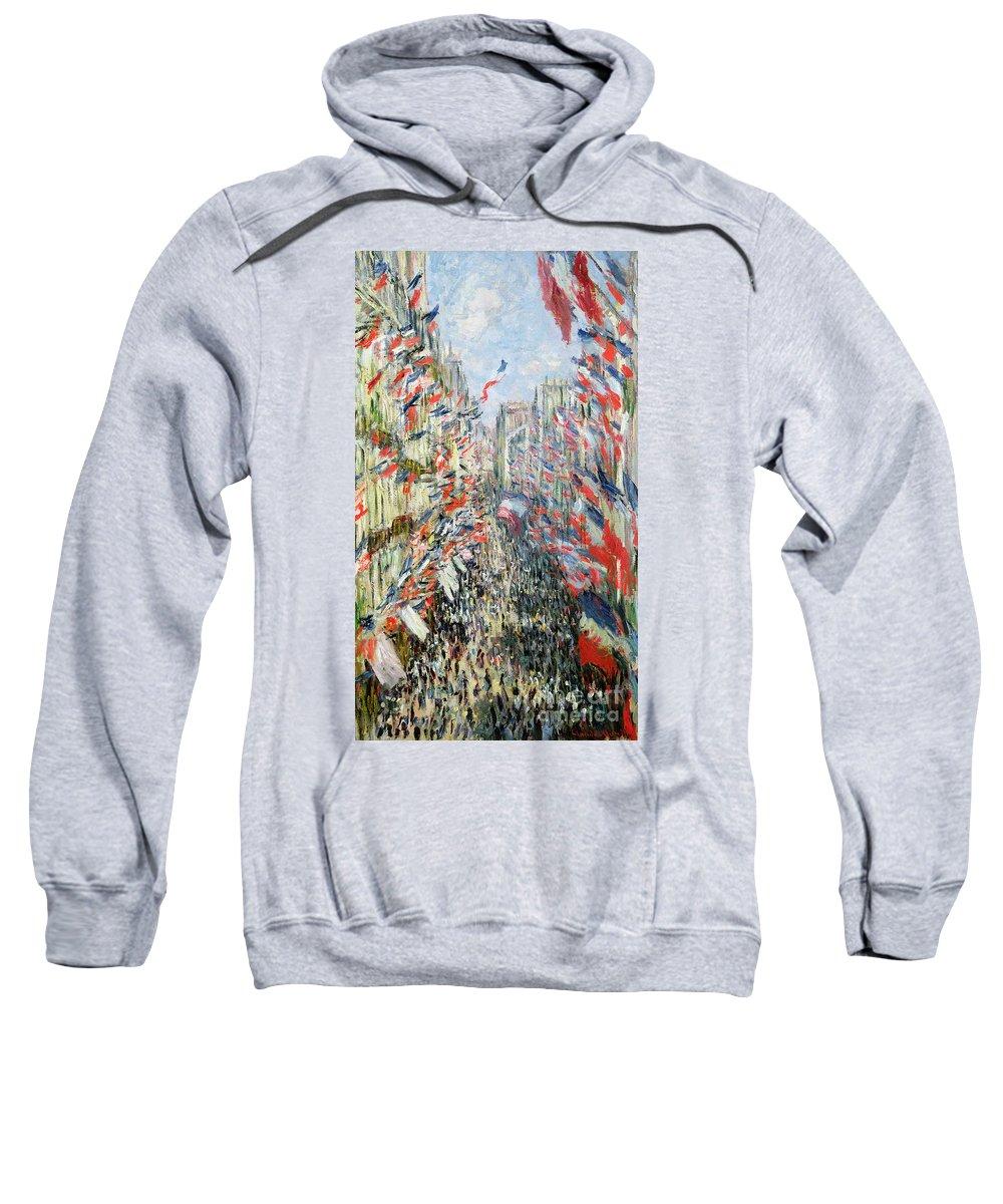 The Rue Montorgueil Sweatshirt featuring the painting The Rue Montorgueil by Claude Monet