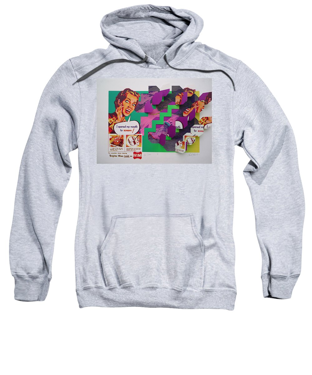 Psycho Sweatshirt featuring the painting The Scream 2 by Charles Stuart