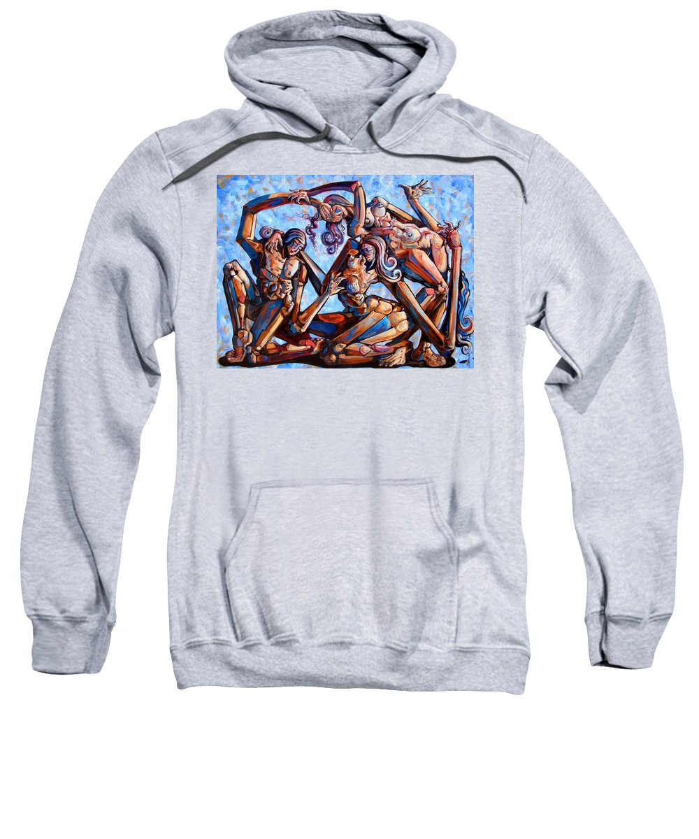 Surrealism Sweatshirt featuring the painting The Seduction Of The Muses by Darwin Leon