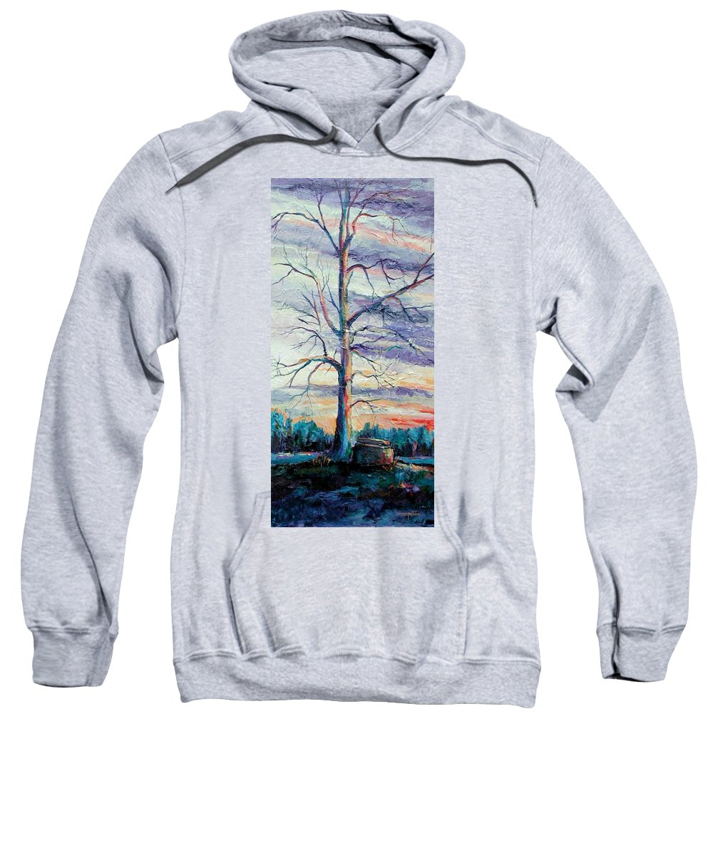 Lone Tree Sweatshirt featuring the painting The Sentinel by Ginger Concepcion