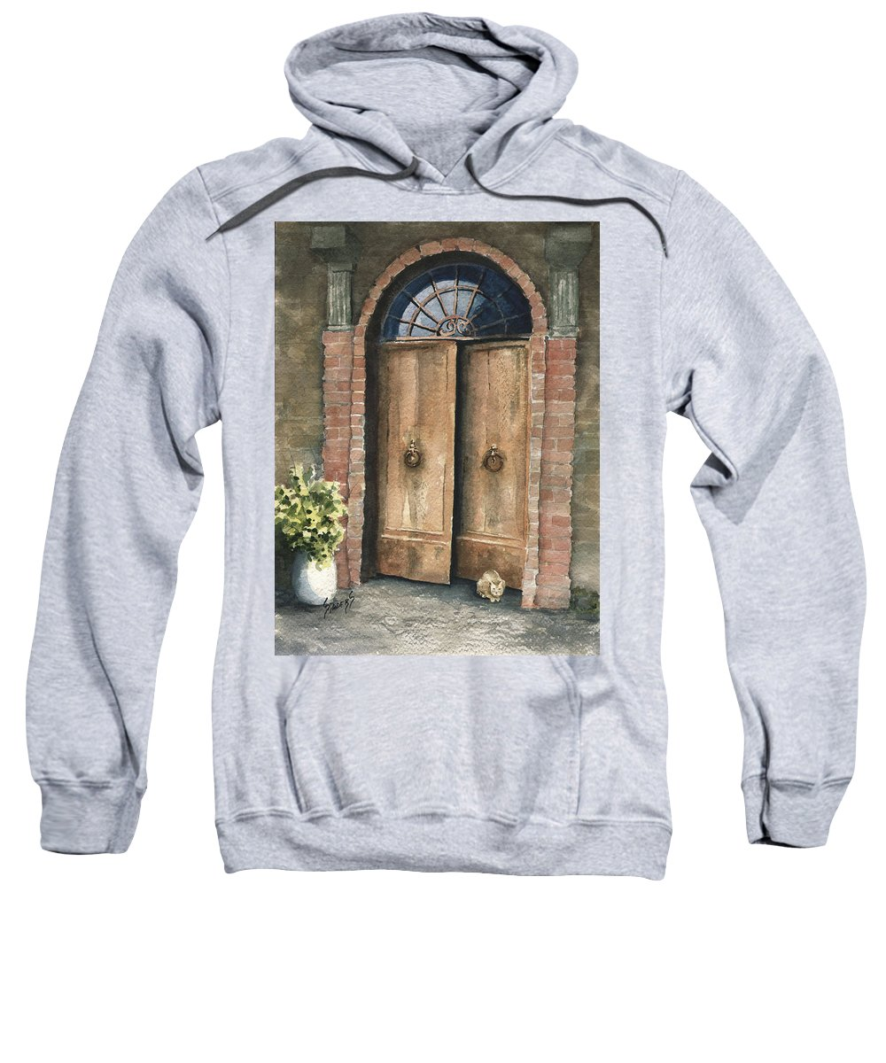 Door Sweatshirt featuring the painting The Sentinel by Sam Sidders