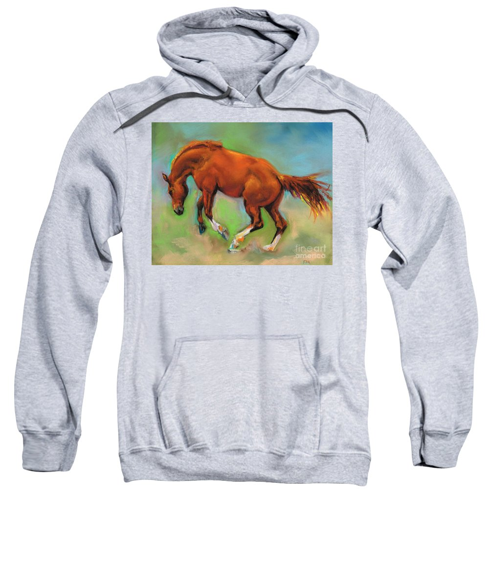 Horses Sweatshirt featuring the painting The Sheer Joy Of It by Frances Marino