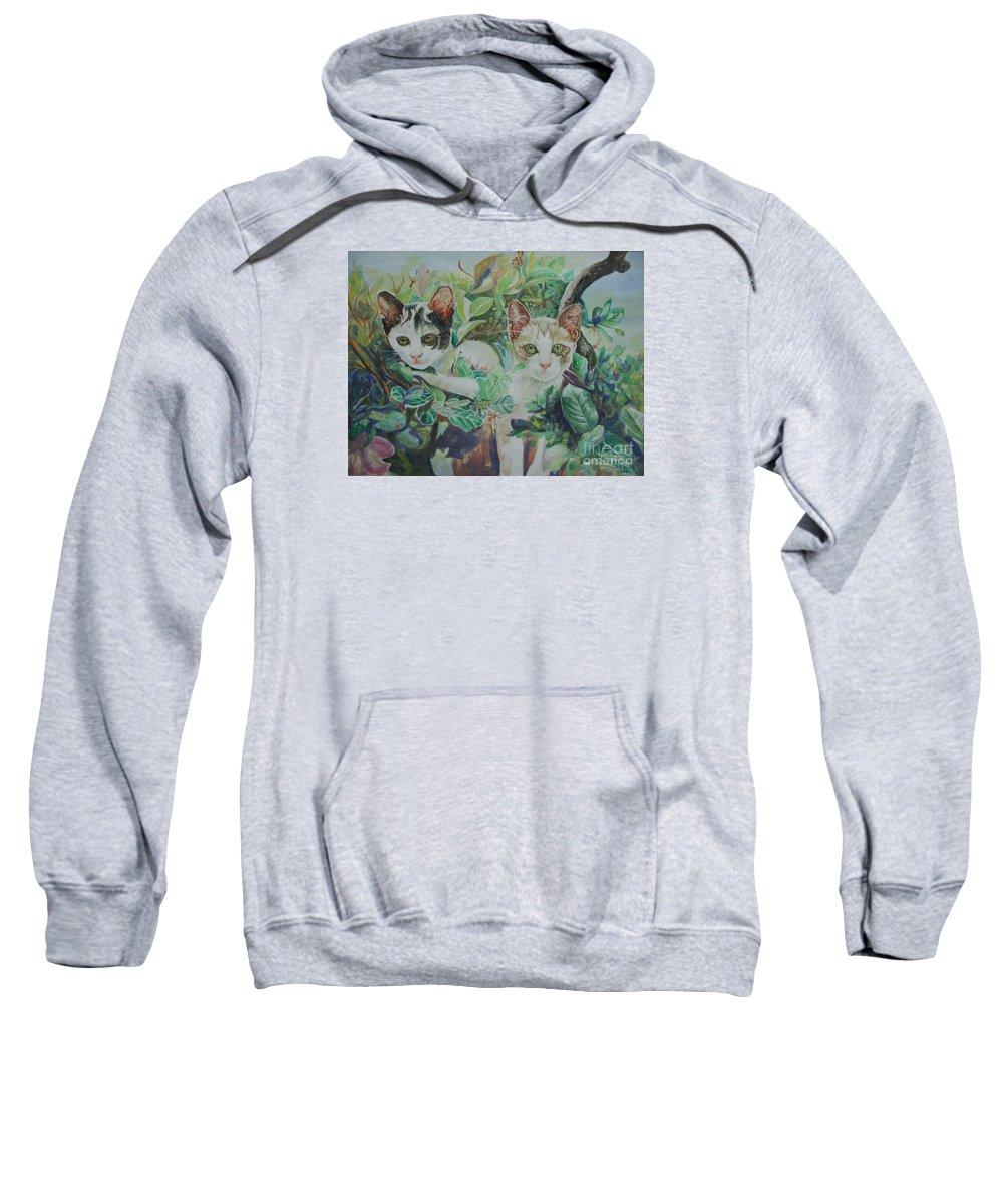 Cats Sweatshirt featuring the painting The Sisters by Sukalya Chearanantana