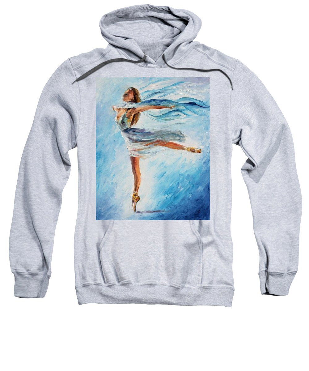 Afremov Sweatshirt featuring the painting The Sky Dance by Leonid Afremov