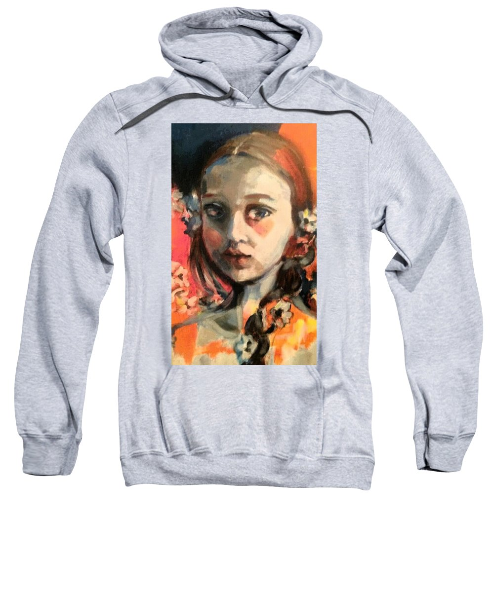 Portrait Sweatshirt featuring the painting The Snow Princess by Tati Poley