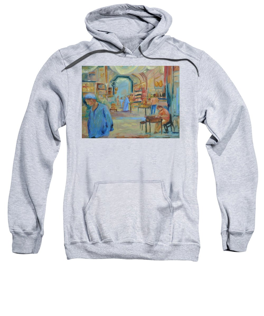 Figurative Sweatshirt featuring the painting The Souk by Ginger Concepcion