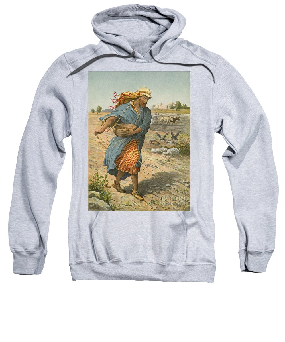 Bible; Children's; Jesus Christ; Seed; Sower; Parable Sweatshirt featuring the painting The Sower Sowing The Seed by English School