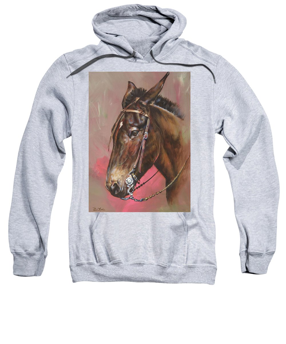 Mules Sweatshirt featuring the painting The Spanish Mule by Mia DeLode