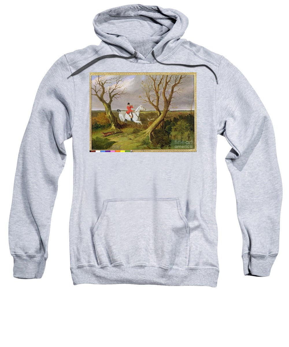 Xyc158550 Sweatshirt featuring the photograph The Suffolk Hunt - Gone Away by John Frederick Herring Snr