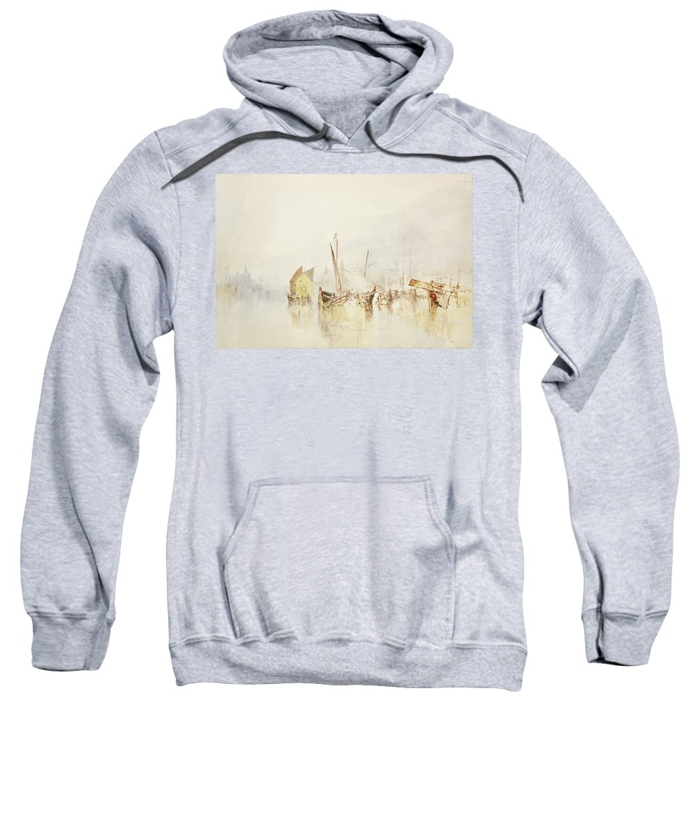 The Sun Of Venice Sweatshirt featuring the drawing The Sun Of Venice by Grypons Art