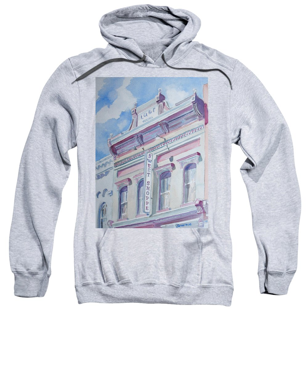 Shop Sweatshirt featuring the painting The Sweet Shoppe by Jenny Armitage